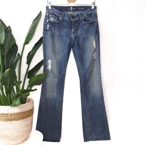 7 For All Mankind Bootcut Blue Distressed Jeans